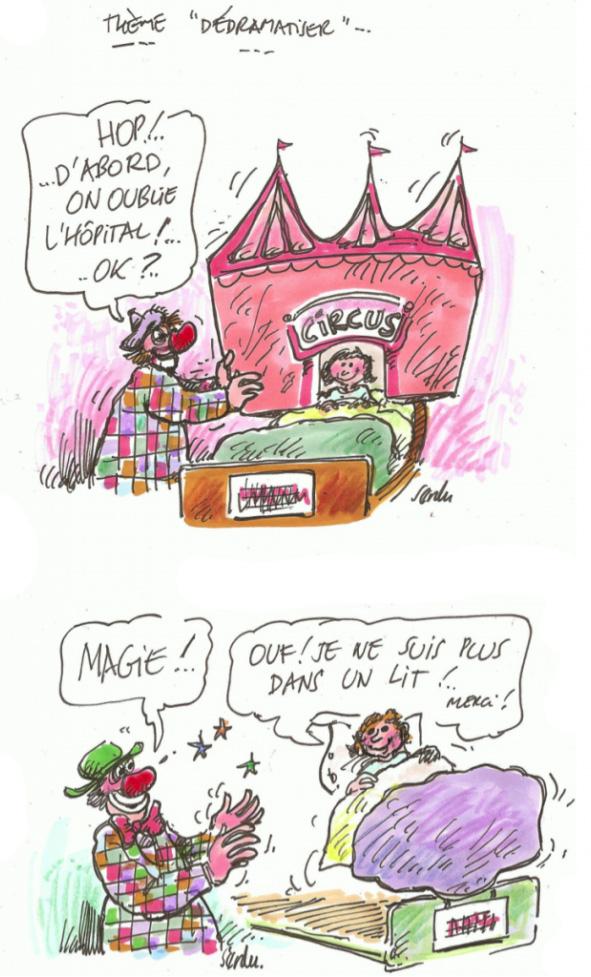 Dessins de Serdu 1er dessin Petite fille dans son lit d'hôpital avec un clown et un décor de cirque autour 2ème dessin Le clown devient magicien et transporte la petite fille dans un autre monde